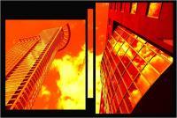 """Andronico Claudio """"Francoforte duemila e... (Colori irreali di un insolito tramonto: l'ultimo. Tasselli di un'immagine che cerca di ricomporsi senza alcun esito a simboleggiare un futuro ormai concluso.  Dedicato a Conc 03"""" (2020)"""