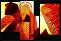"""Andronico Claudio """"Francoforte duemila e... (Colori irreali di un insolito tramonto: l'ultimo. Tasselli di un'immagine che cerca di ricomporsi senza alcun esito a simboleggiare un futuro ormai concluso.  Dedicato a Conc 06"""" (2020)"""