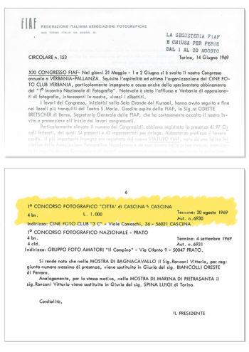 Circolare FIAF n°153 del 14/06/1969 - Concessione Patrocinio 1° Truciolo d'Oro